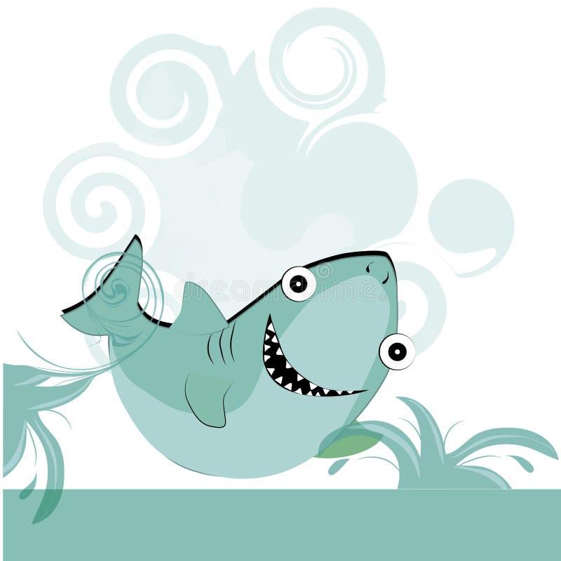 Tiburón azul feliz stock de ilustración
