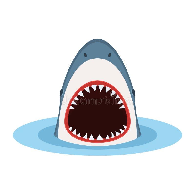 Tiburón con la boca abierta stock de ilustración