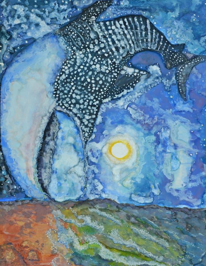 Tiburón de ballena de la caza de la luna stock de ilustración