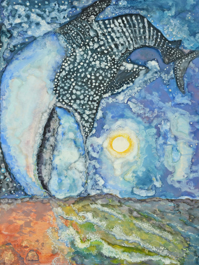 Tiburón de ballena de la vía láctea stock de ilustración
