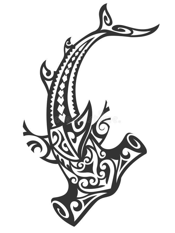 Tiburón de Hammerhead tribal stock de ilustración