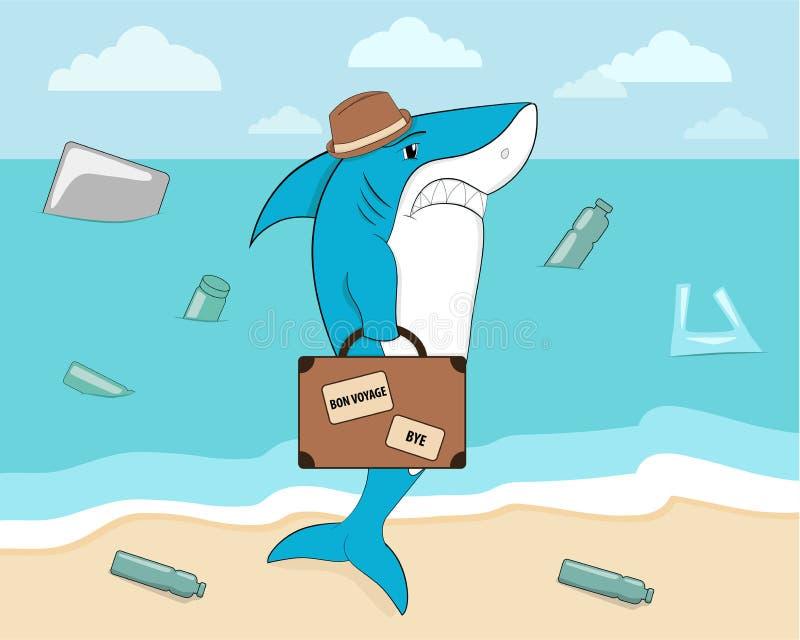 Tiburón de la historieta que sale del océano contaminado con una maleta ilustración del vector