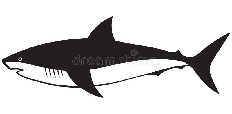 Tiburón de la silueta ilustración del vector