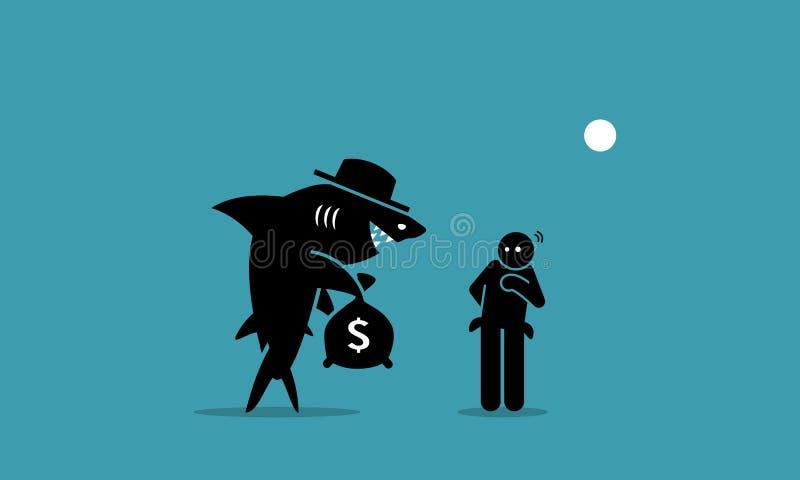 Tiburón de préstamo y un pobre hombre libre illustration
