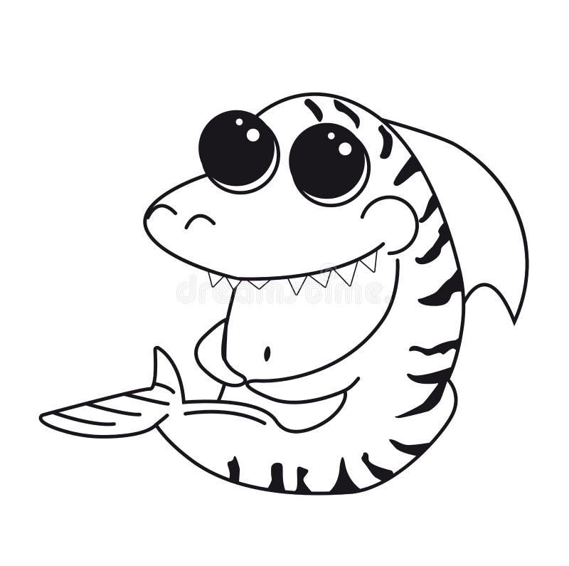 Tiburón de tigre de la página que colorea con los ojos grandes Carácter aislado divertido de la historieta Impresión para la ropa stock de ilustración