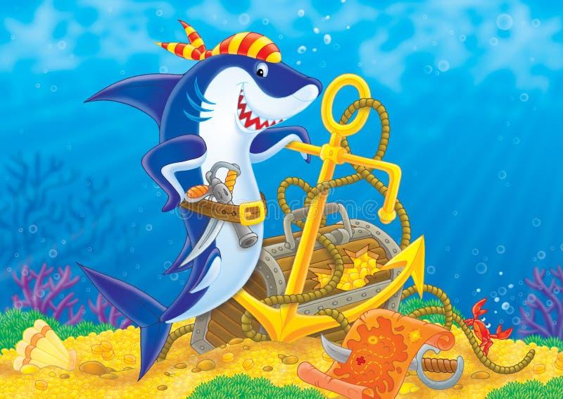 Tiburón del pirata stock de ilustración