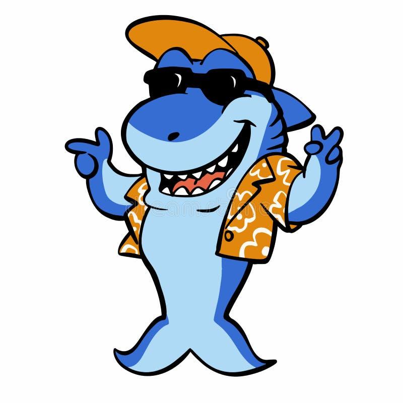 Tiburón divertido con la camisa y el sombrero stock de ilustración