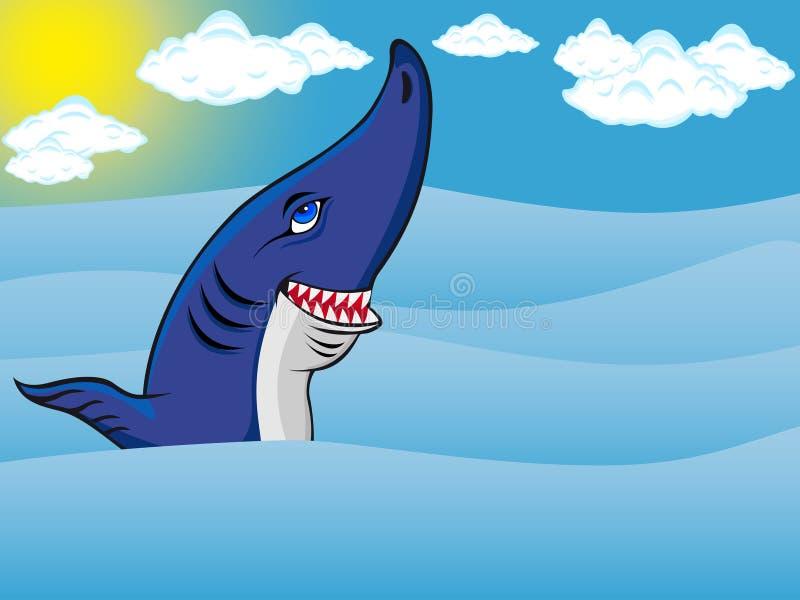 Tiburón en el mar stock de ilustración