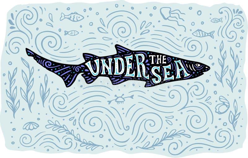 Tiburón en un fondo marino azul ilustración del vector