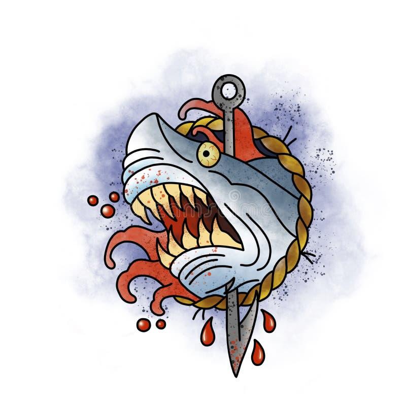 Tiburón estilizado Tatuaje Design fotografía de archivo libre de regalías