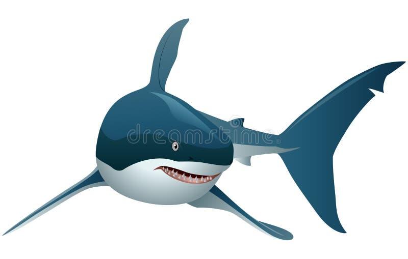 Tiburón fresco de la historieta con pendientes simples ilustración del vector
