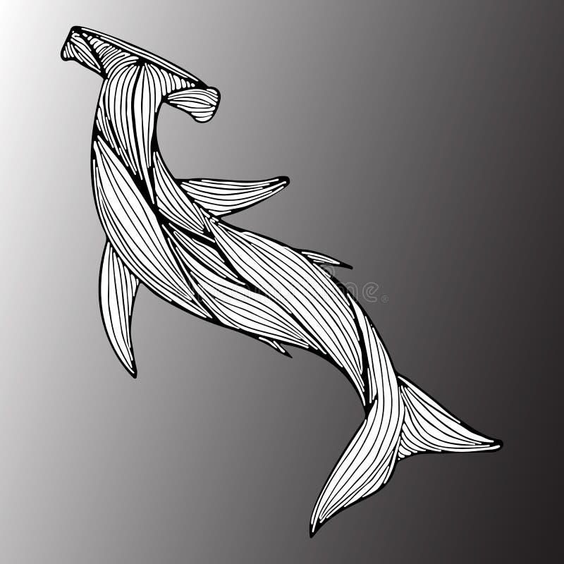 Tiburón gigante exhausto del martillo de la mano abstracta aislado en fondo gris Ilustraci?n contorno L?nea arte Visi?n superior stock de ilustración