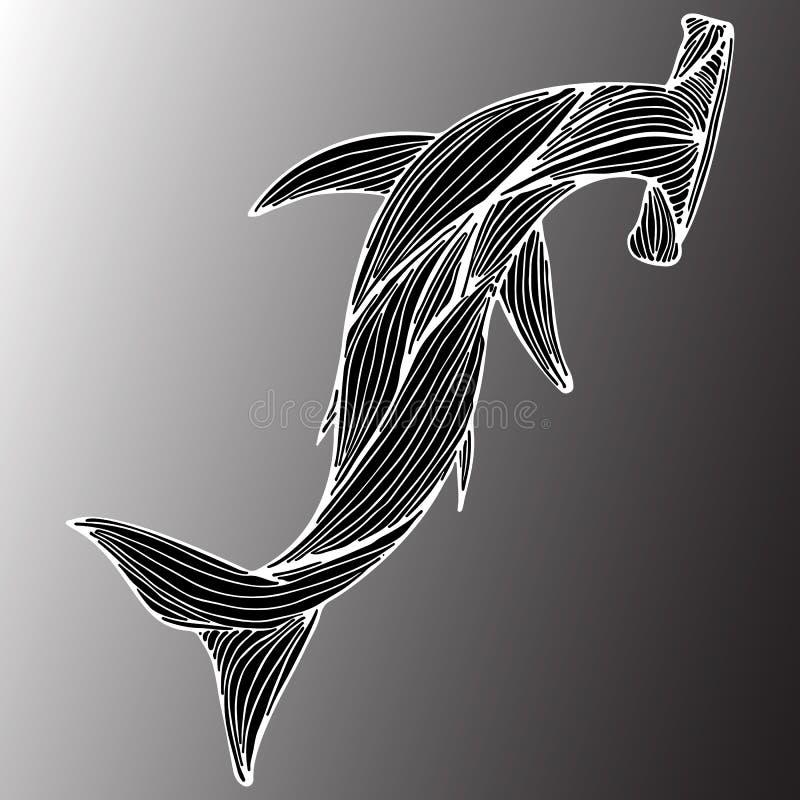 Tiburón gigante exhausto del martillo de la mano abstracta aislado en fondo gris Ilustraci?n contorno L?nea arte Visi?n superior libre illustration