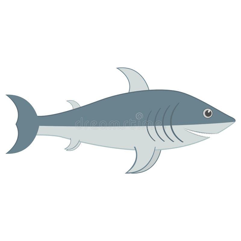 Tiburón gris con los dientes ilustración del vector