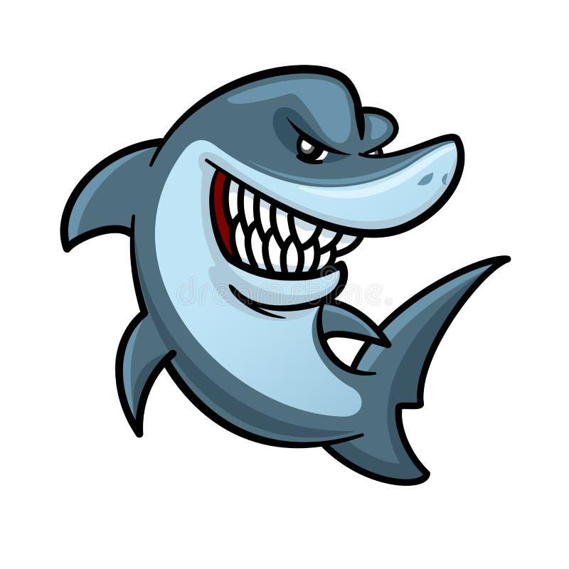 Tiburón hambriento con el personaje de dibujos animados dentudo de la sonrisa ilustración del vector