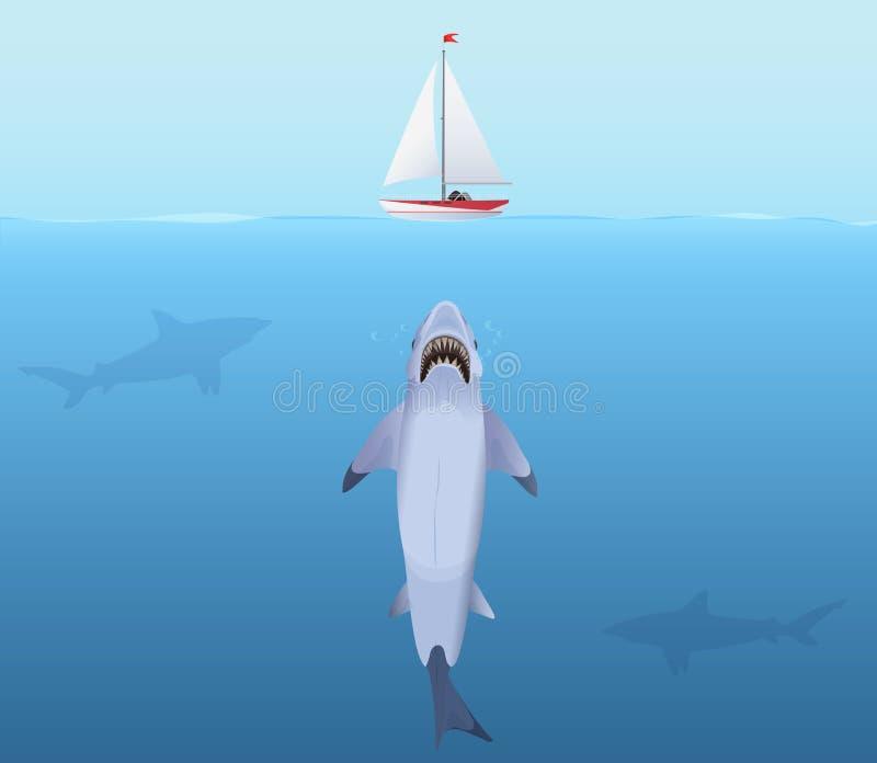 Tiburón hambriento con la nave grande del yate del ataque del mandíbula del agua ilustración del vector
