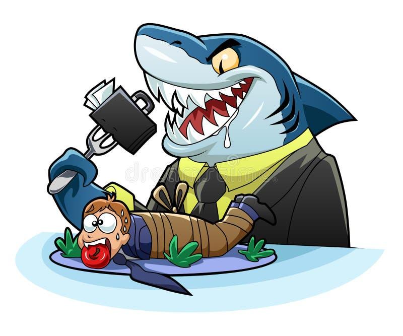 Tiburón hambriento del negocio ilustración del vector