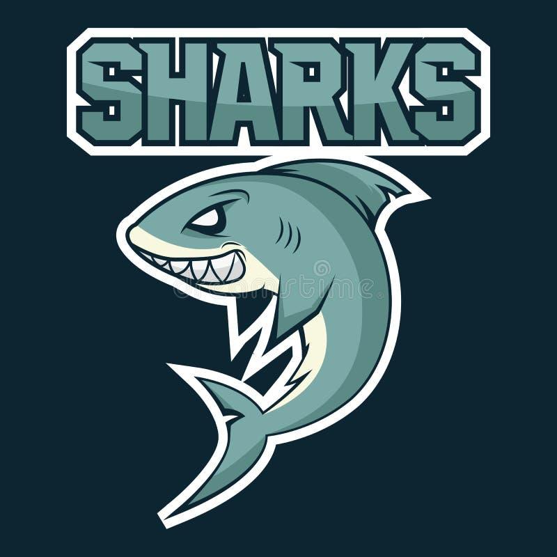 Tiburón hambriento, enojado, historieta ilustración del vector