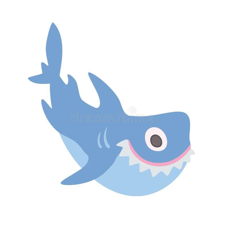Tiburón lindo de la historieta, ejemplo del vector, en blanco ilustración del vector
