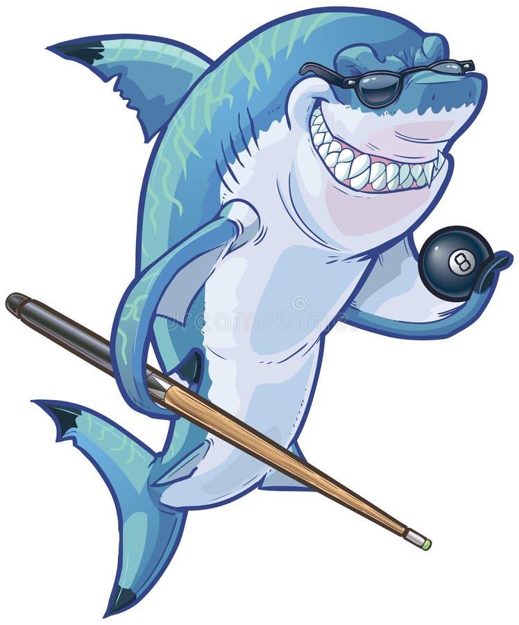 Tiburón malo de la piscina de la historieta con señal y la bola ocho