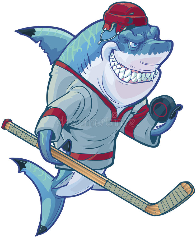 Tiburón malo del hockey de la historieta con el palillo y el duende malicioso stock de ilustración