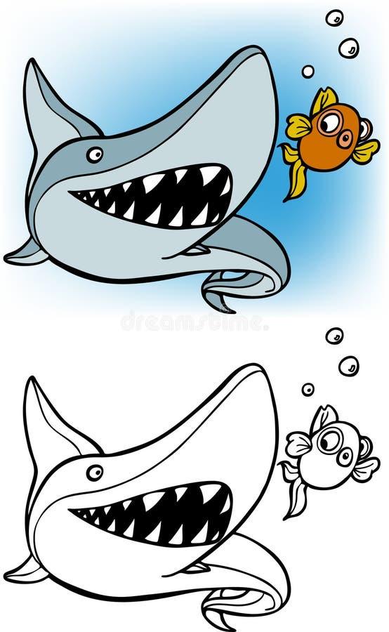 Tiburón que persigue el conjunto del goldfish stock de ilustración