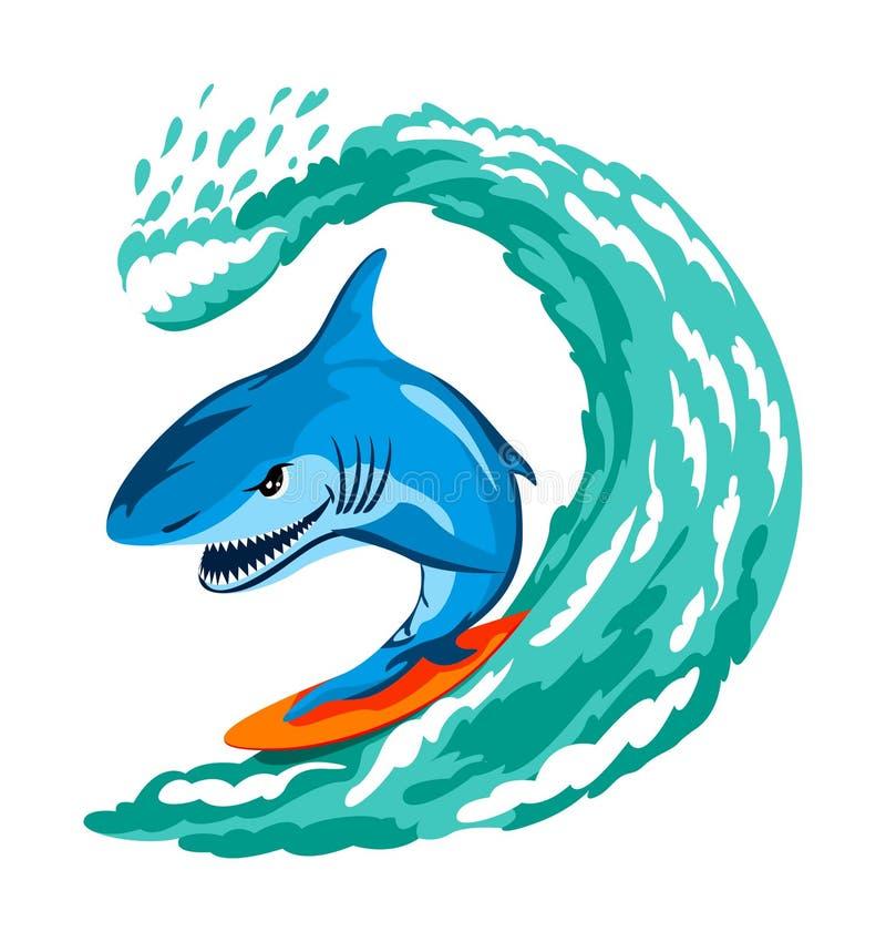 Tiburón que practica surf stock de ilustración