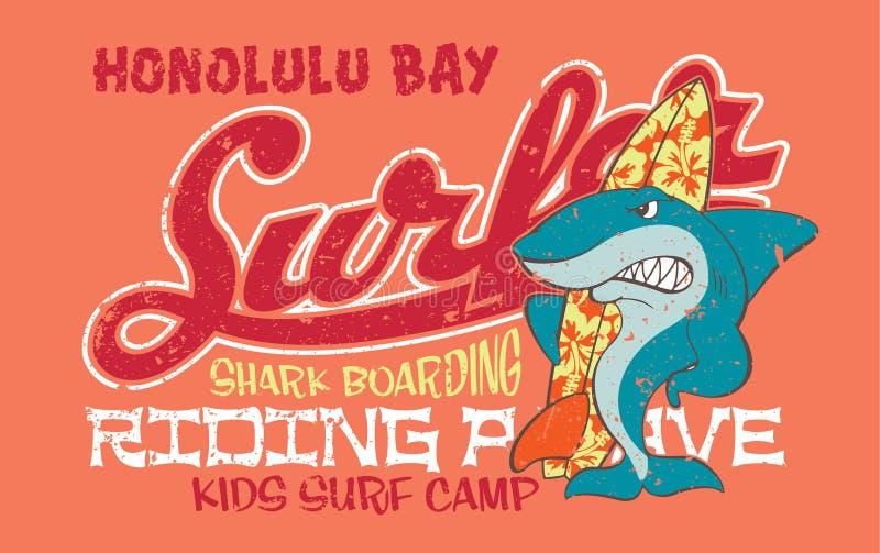 Tiburón que practica surf libre illustration
