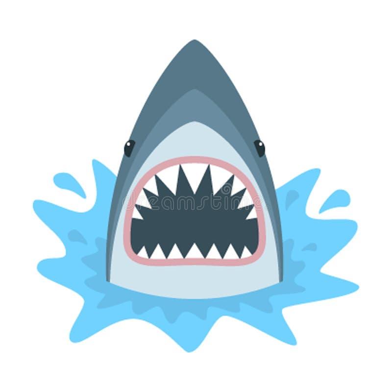 Tibur?n con la boca abierta Aislamiento del tibur?n en un fondo blanco Vector plano libre illustration