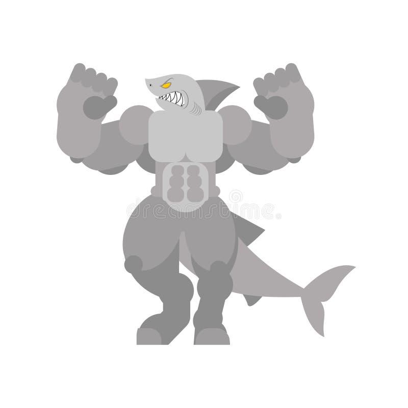 Tibur?n fuerte Pescados de mar depredadores grandes potentes Culturista despredador del agua libre illustration