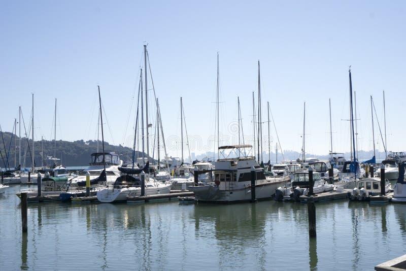 Tiburon小游艇船坞 免版税图库摄影