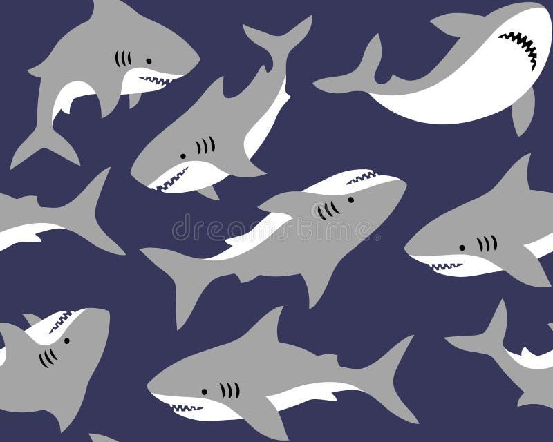Tiburones lindos en fondo azul marino ilustración del vector