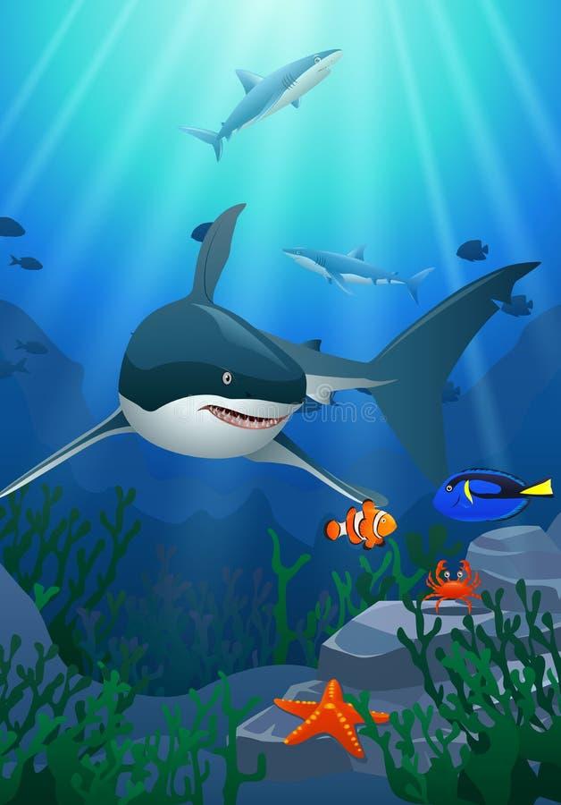 Tiburones y arrecifes de coral en el mar ilustración del vector