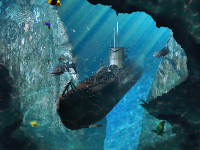 Tiburones y submarino ilustración del vector
