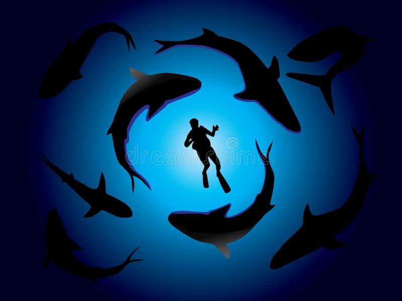 Tiburones y zambullidor de equipo de submarinismo stock de ilustración