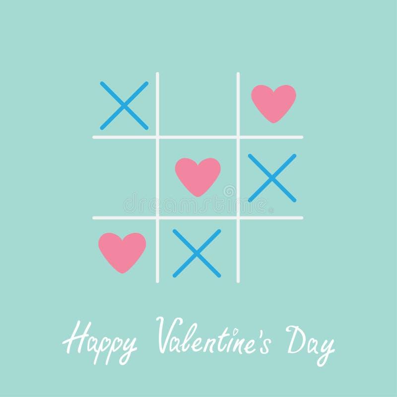 Tic TAC与十字架和三心脏标志标记愉快的情人节卡片蓝色平的设计的脚趾比赛 皇族释放例证