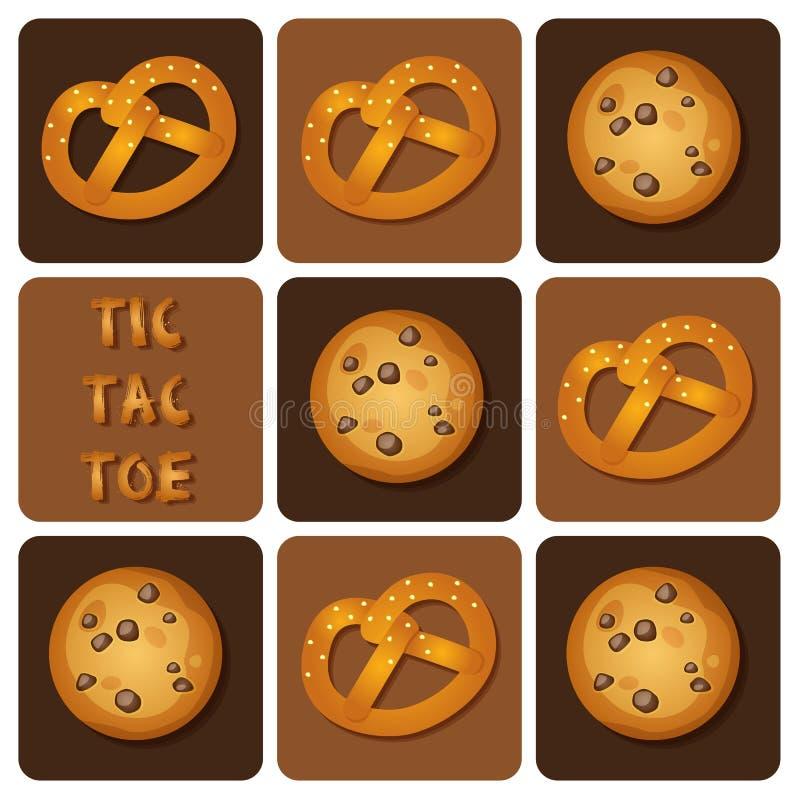 Tic-TAC-orteil de biscuit et de bretzel illustration stock