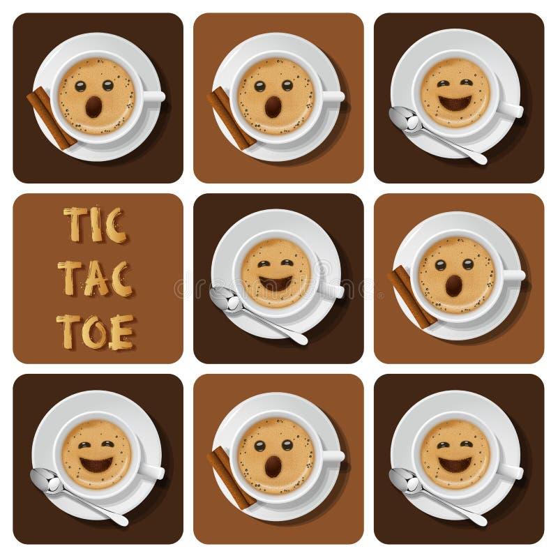 Tic-TAC-orteil de cappuccino illustration stock