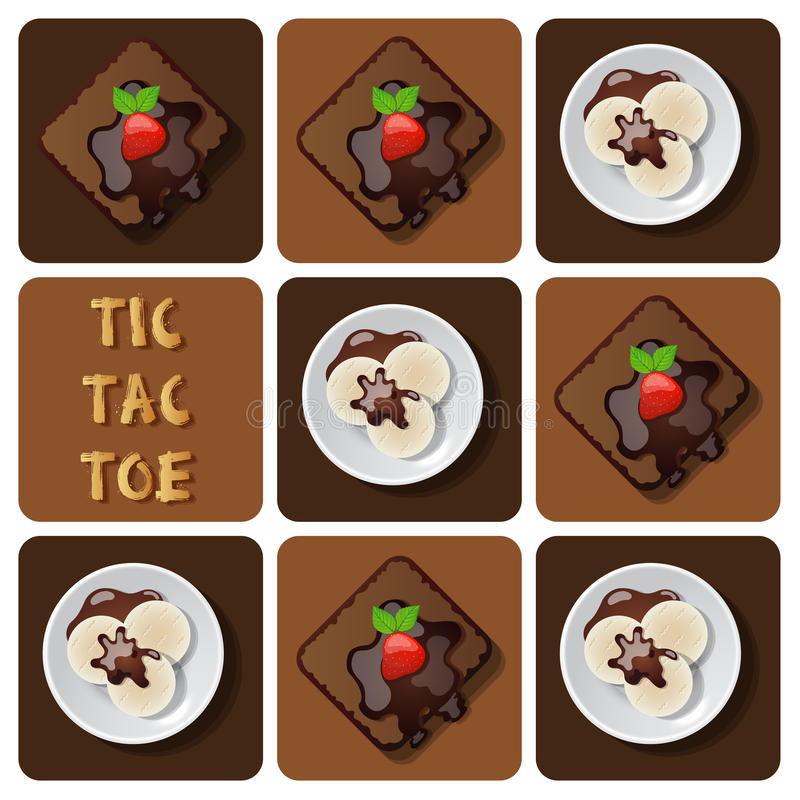 Tic-TAC-orteil de crème glacée et de 'brownie' illustration libre de droits