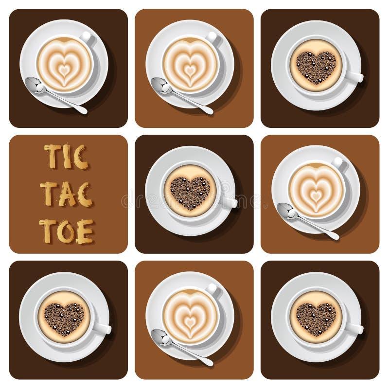 Tic-TAC-teen cappuccino en latte stock illustratie