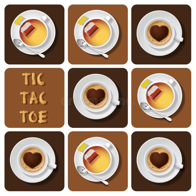 Tic-TAC-teen cappuccino en thee vector illustratie