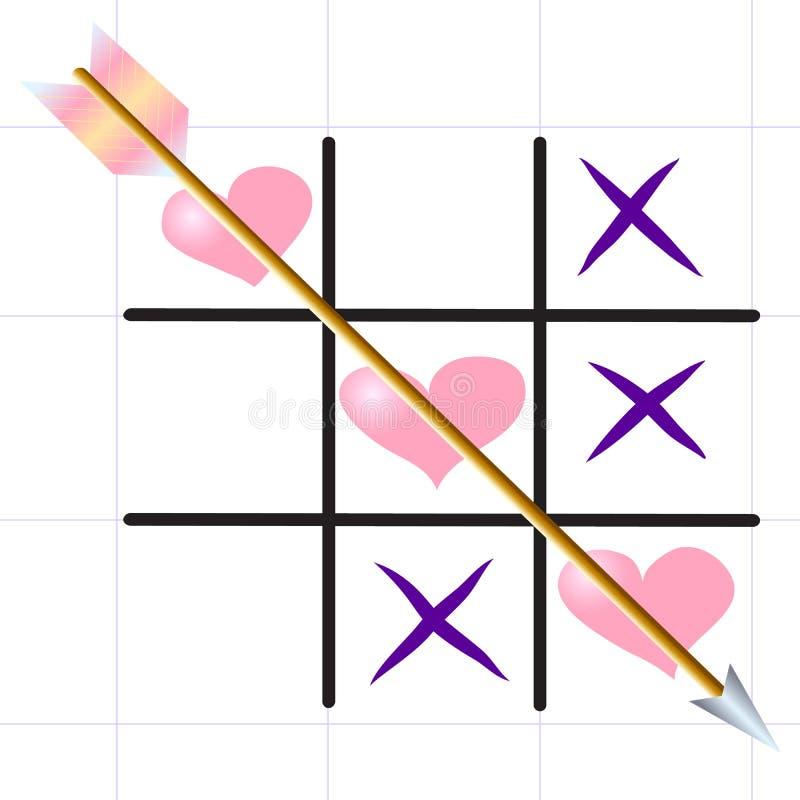 Tic-TAC-teen ` Liefdespel ` op het bladblad vector illustratie