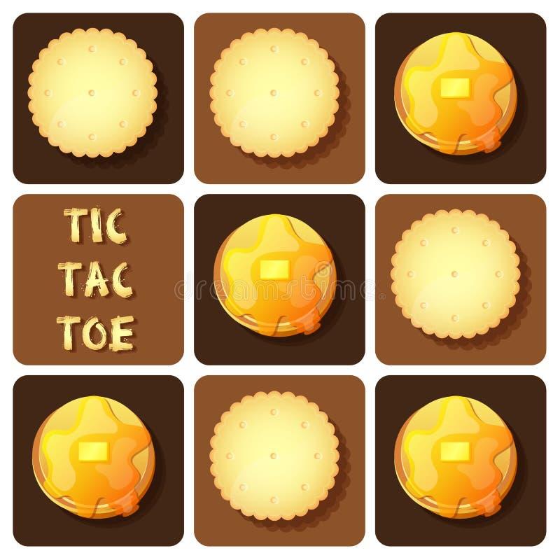 Tic-TAC-teen van cracker en pannekoek royalty-vrije illustratie