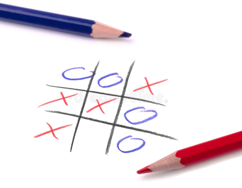 Tic tac toe. Game and two pencil on white page stock photo