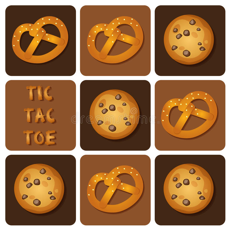 Tic-Tac-Toe of Cookie and Pretzel. Illustration of of cookie and pretzel in tic-tac-toe game stock illustration