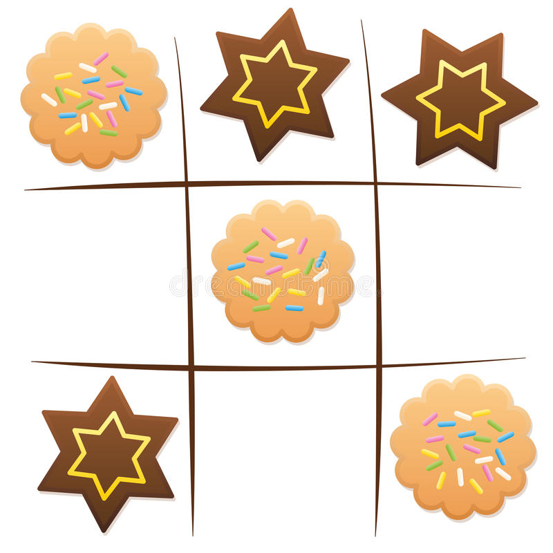 Tic Tac Toe de biscuits d'amusement de jeu de Noël illustration stock