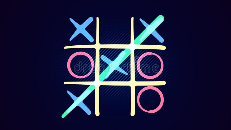 Tic-tac toe drawing in the blue background stock images