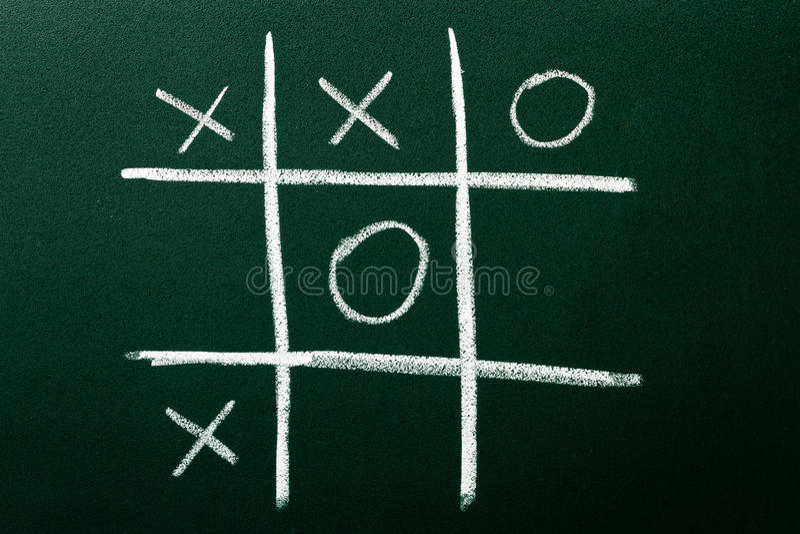 Tic-Tac-Toe game. On green blackboard stock photos