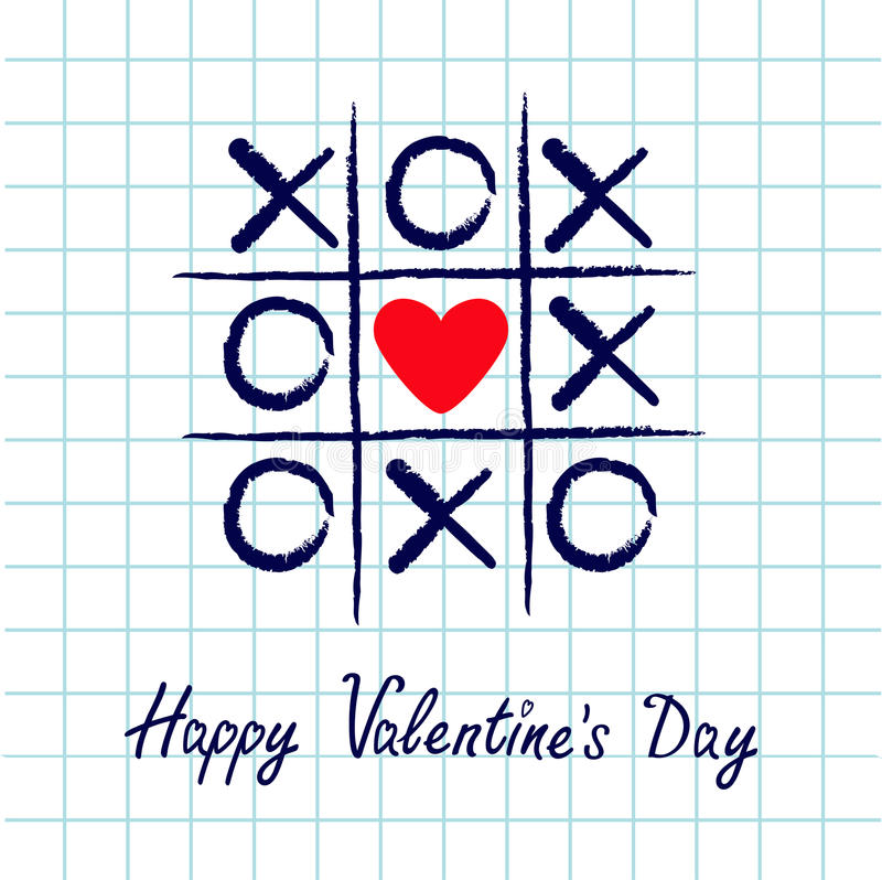 Tic Tac Toe Game With Criss Cross And Red Heart Sign Mark XOXO. Hand ...