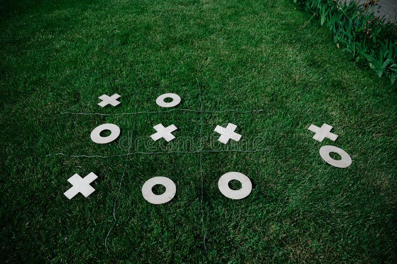 tic tac toe game in the fresh air stock images